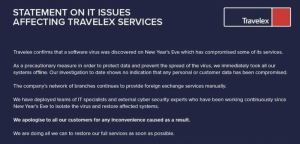 Travelex statement about the cyber attack on its website on 7 January 2020
