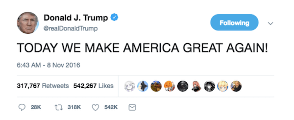 Make America Great Again Tweet 2016